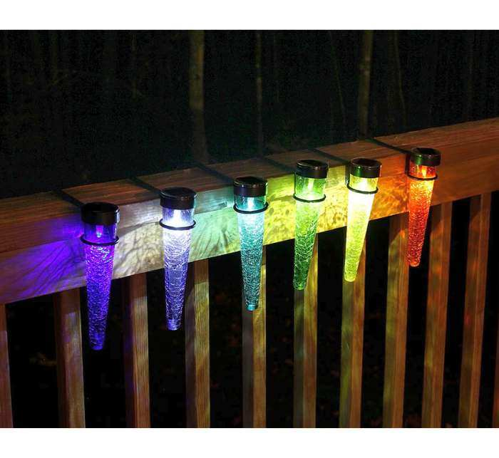 Solar Crackle Glass Sparkle Cones Handrail 3/Pack
