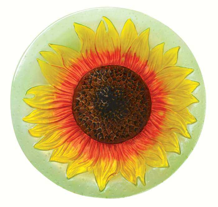 Embossed Sunflower Glass Bird Bath Bowl