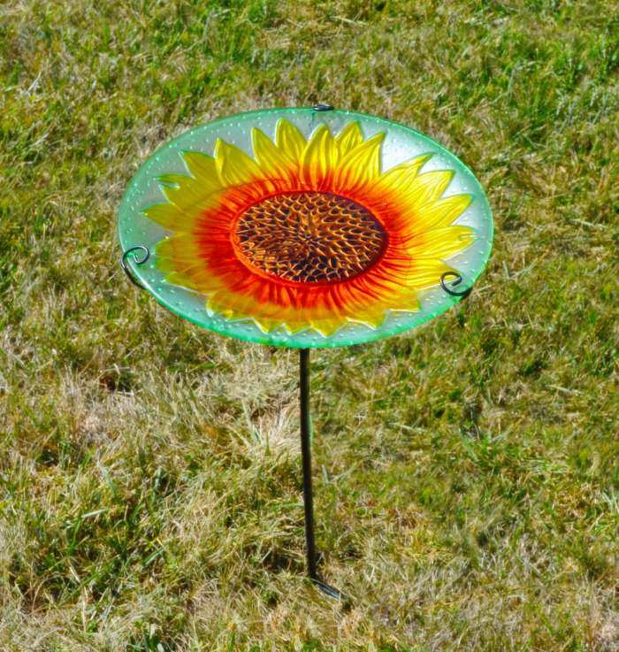 Embossed Sunflower Glass Bird Bath w/Stake