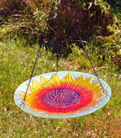 Embossed Sunflower Hanging Glass Bird Bath