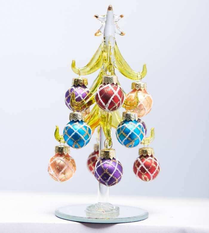 LS Arts Inc Tree 6 Inch w// Bright Ornaments Green