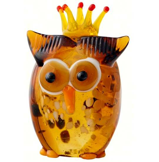 Milano Art Glass Animal Owl with Crown
