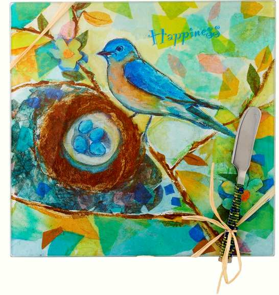Cheese Board Set Bird Happiness Square 9