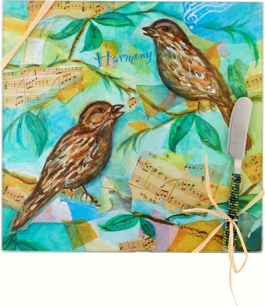 Cheese Board Set Bird Harmony Square 9