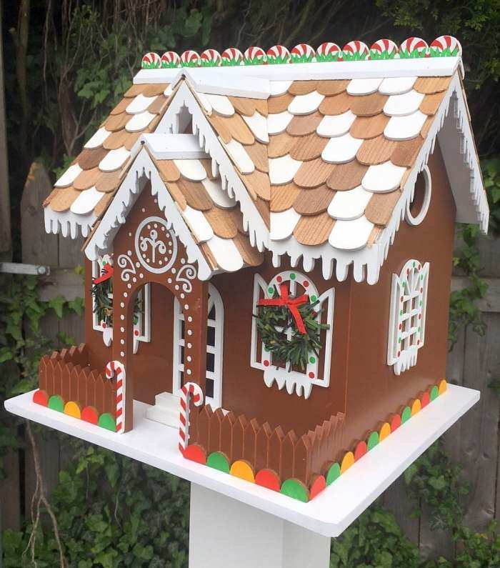 Candy Christmas Cottage Birdhouse