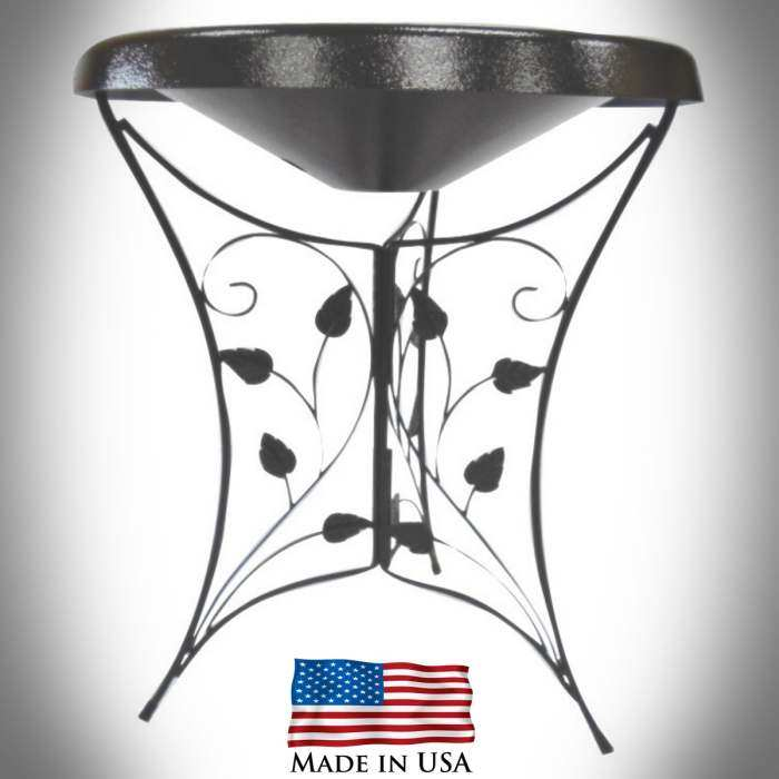 Songbird Heated Birdbath w/Ivy Leaf Stand Black