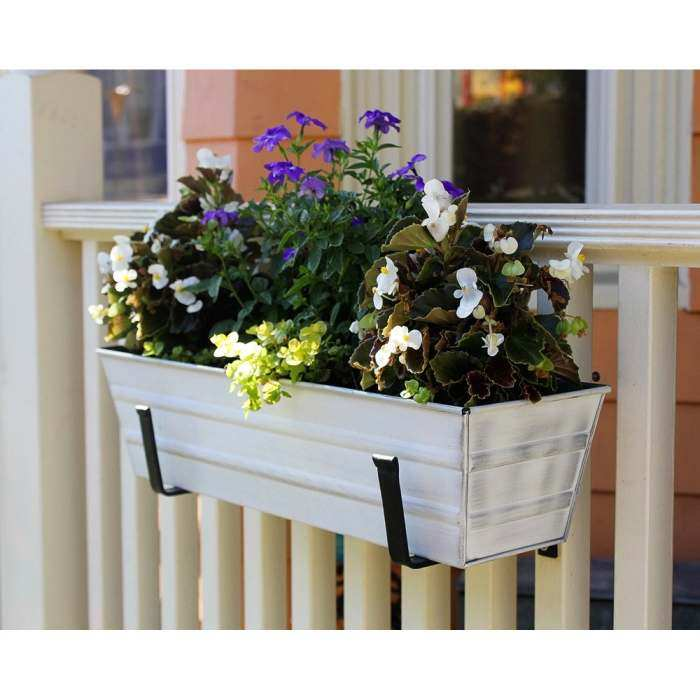 Achla Cape Cod White Flower Box Wall Mount Kit