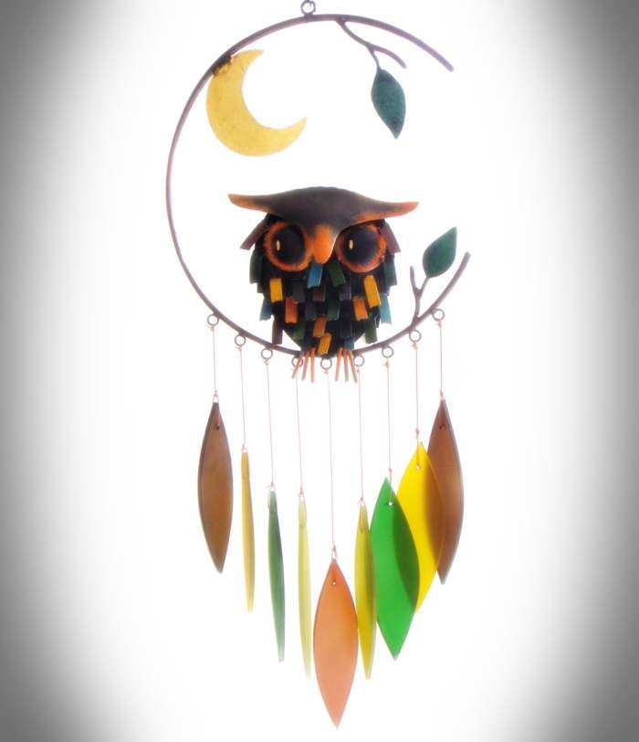 Spiky Owl and Moon Windchime