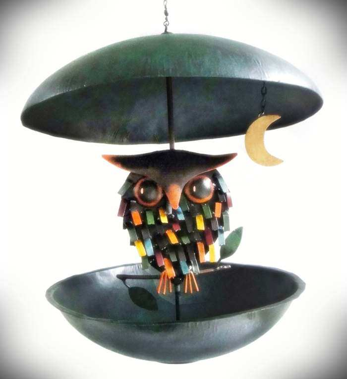 Spiky Owl Bistro Feeder Whimsical Handcrafted Owl Metal Art Bird Feeders At Songbird Garden