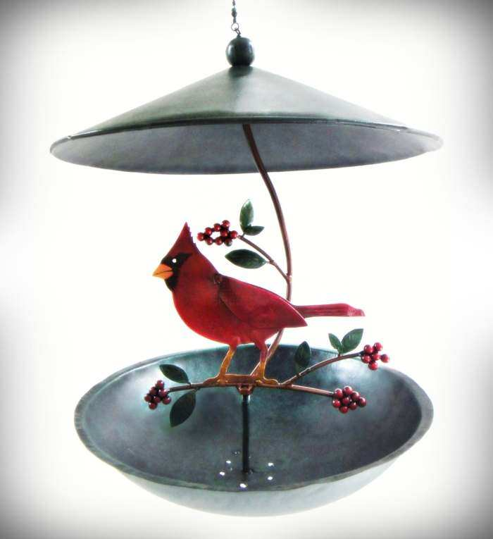 Cardinal and Holly Berries Bistro Feeder