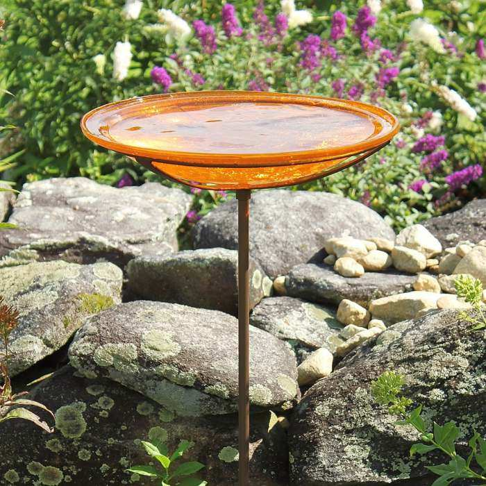 Achla Crackle Glass Birdbath Stake Mandarin