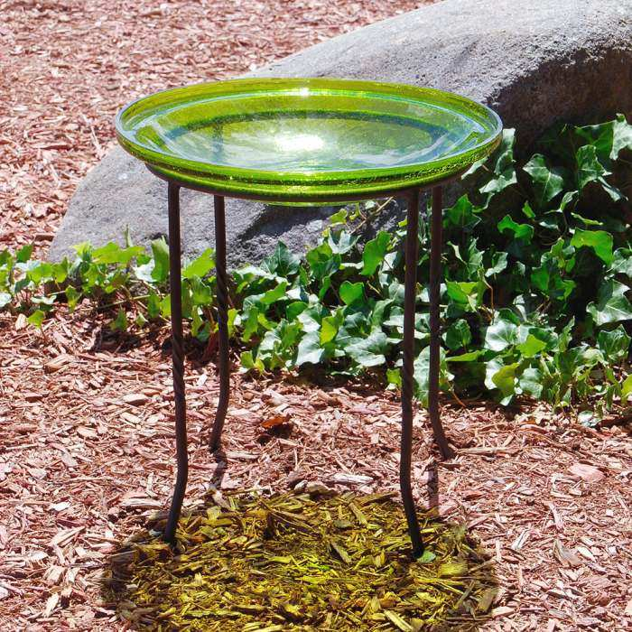 Crackle Glass Birdbath Fern Green w/Ring Stand