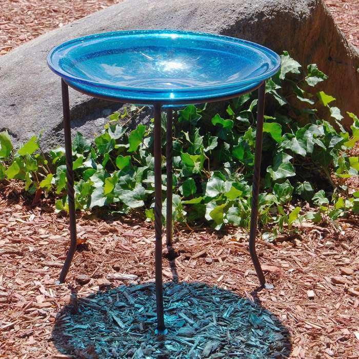 Crackle Glass Birdbath Teal w/Ring Stand