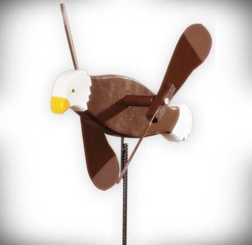 Whirlybird Bald Eagle Spinner w/Pole