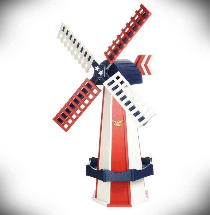 Amish Made Poly Windmill Patriotic Red/White/Blue
