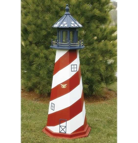 Wooden Lighthouse Replica Cape Hatteras Patriotic