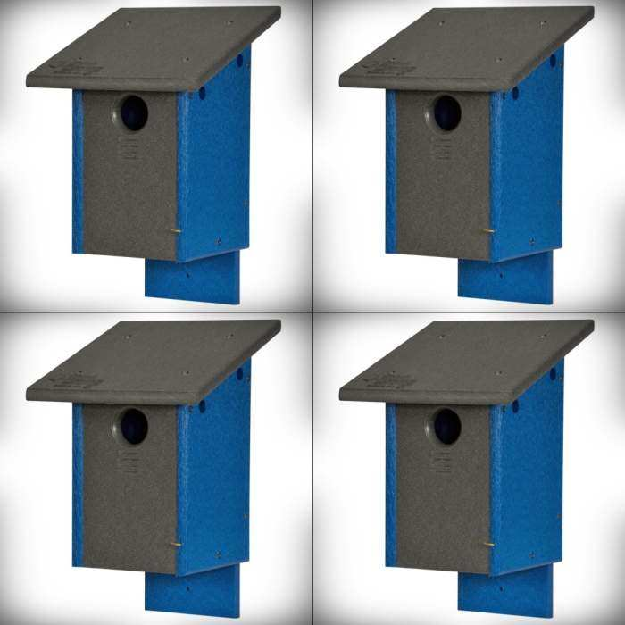 Amish Recycled Poly Classic Bluebird House 4/Pack