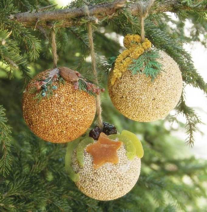 Fruit & Nut Seed Ball Ornaments Set of 24