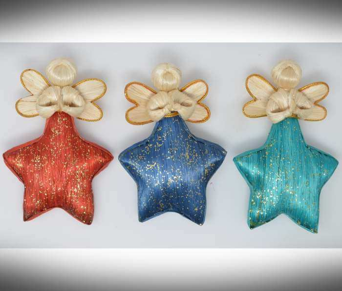 Abaca Angel Star Green, Red, Blue Set of 3