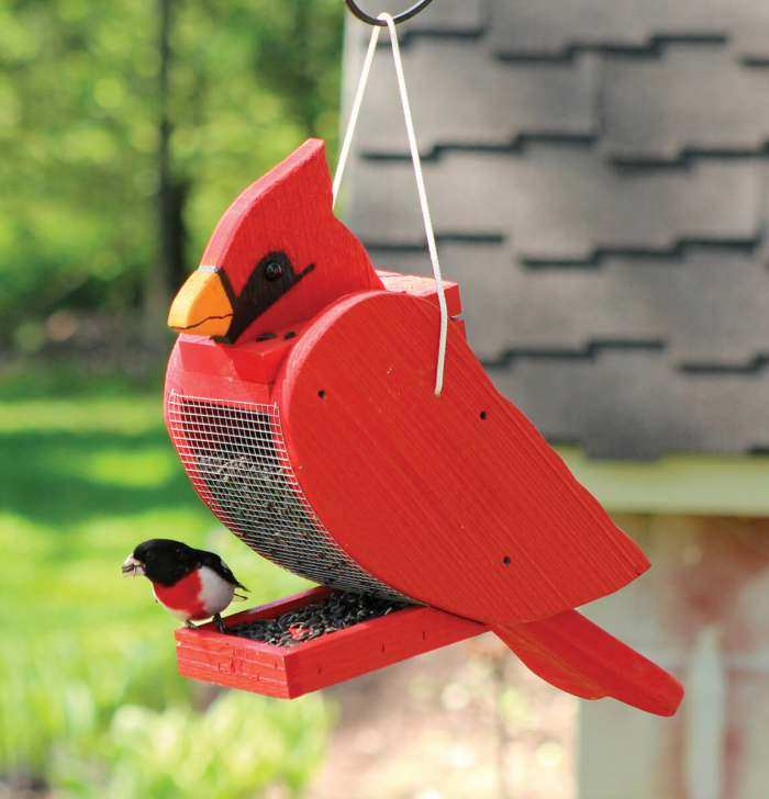 Amish Handcrafted Shaped Bird Feeder Cardinal