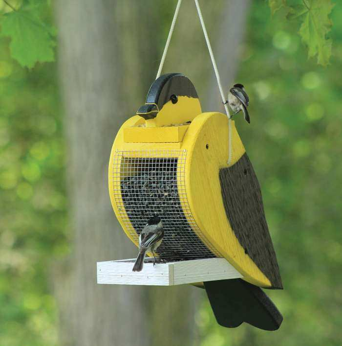 Amish Handcrafted Shaped Bird Feeder Goldfinch