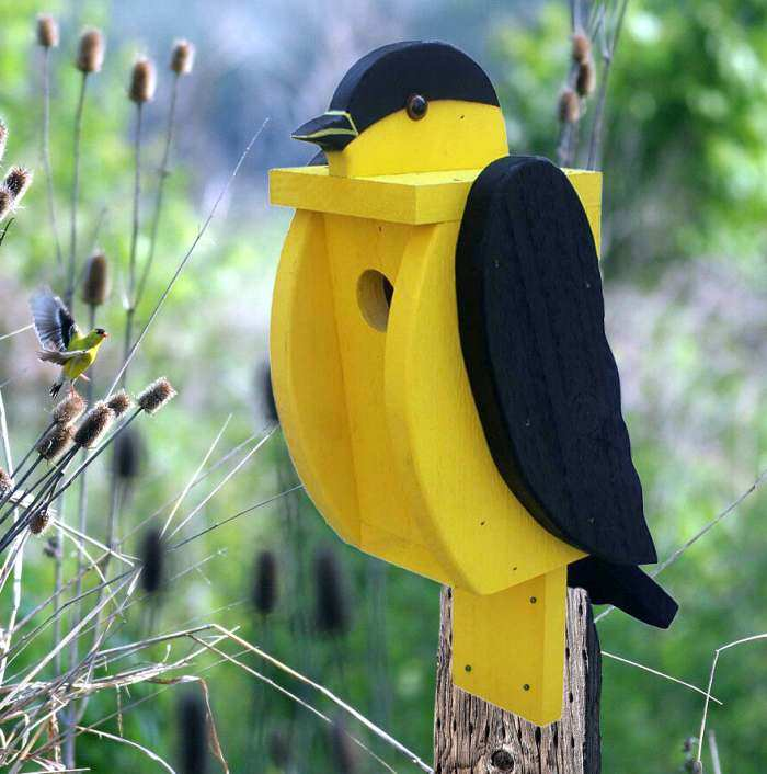 Amish Handcrafted Shaped Birdhouse Goldfinch