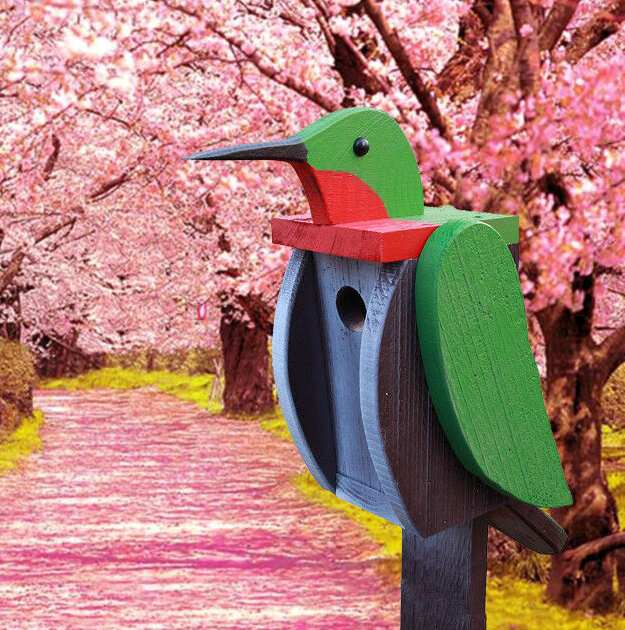 Amish Handcrafted Shaped Birdhouse Hummingbird
