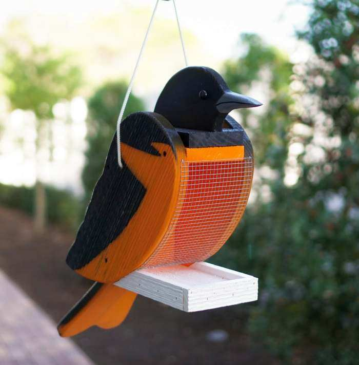 Amish Handcrafted Shaped Bird Feeder Oriole