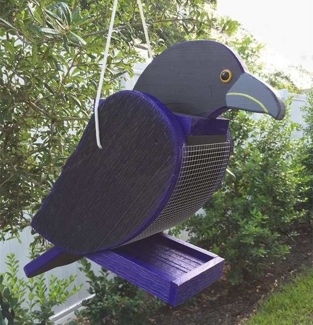 Amish Handcrafted Shaped Bird Feeder Raven