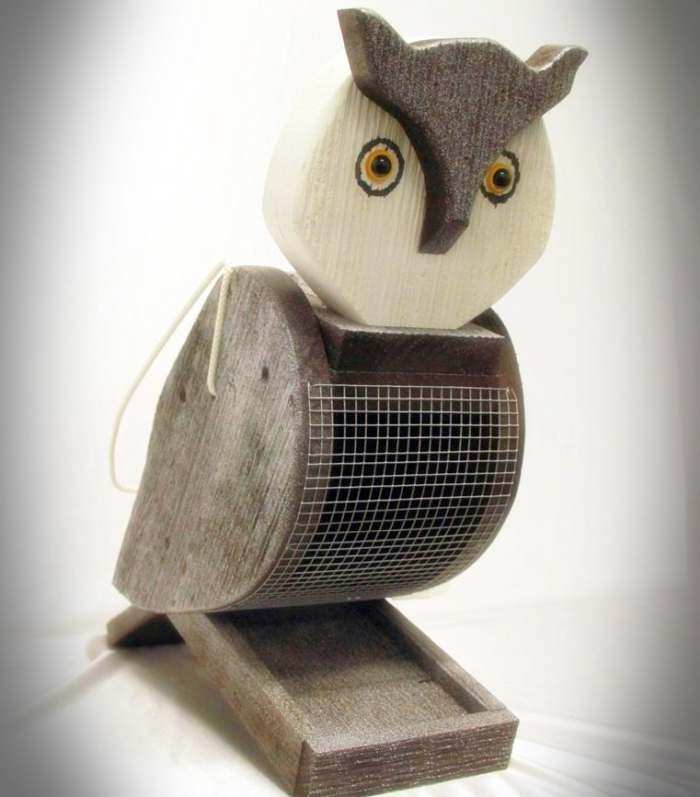 Amish Handcrafted Shaped Bird Feeder Owl