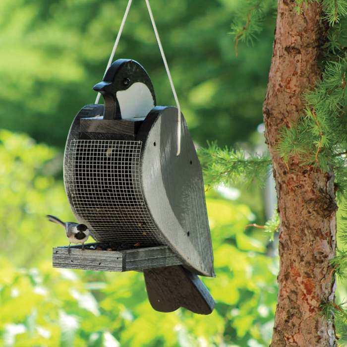 Amish Handcrafted Shaped Bird Feeder Chickadee