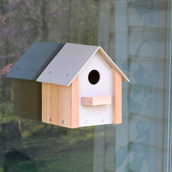 Songbird Window Bird House w/Mirrored Window Film