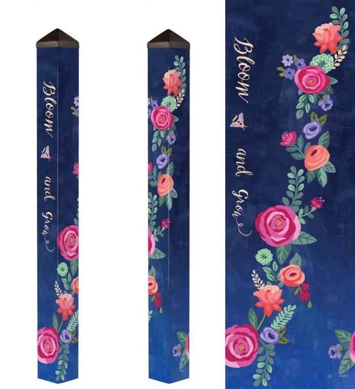 Boho Flowers 60 Inch Art Pole 5x5, Decorative Garden Art Pole, Art