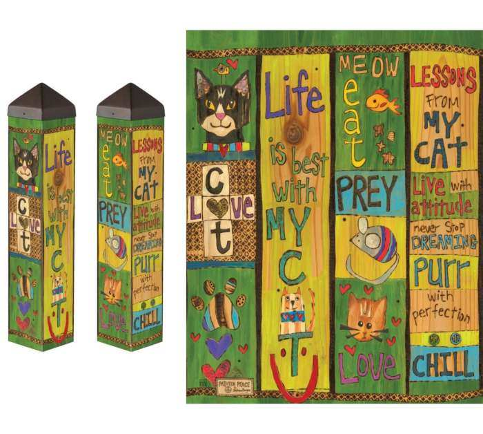 Lessons From My Cat 20 Inch Art Pole 4x4 Decorative Garden