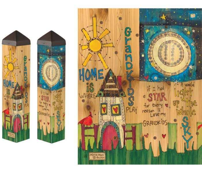 Where Grandkids Play 20 Inch Art Pole 4x4 Decorative Garden