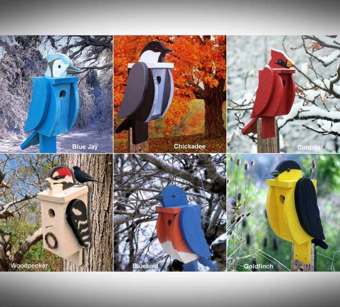 Amish Handcrafted Shaped Birdhouse Set of 6