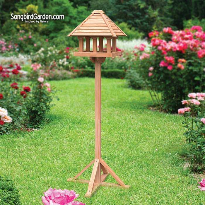 Audubon Cedar Gazebo Bird Table with Stand