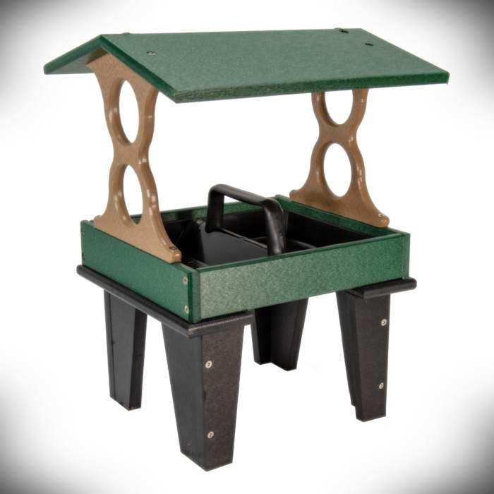 Poly Ground Fly-Thru Feeder Medium Green/Tan