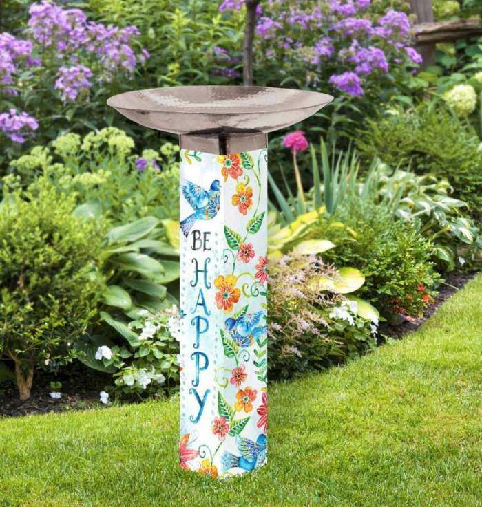 Art Pole Bird Bath 5x5 Happy Bluebirds