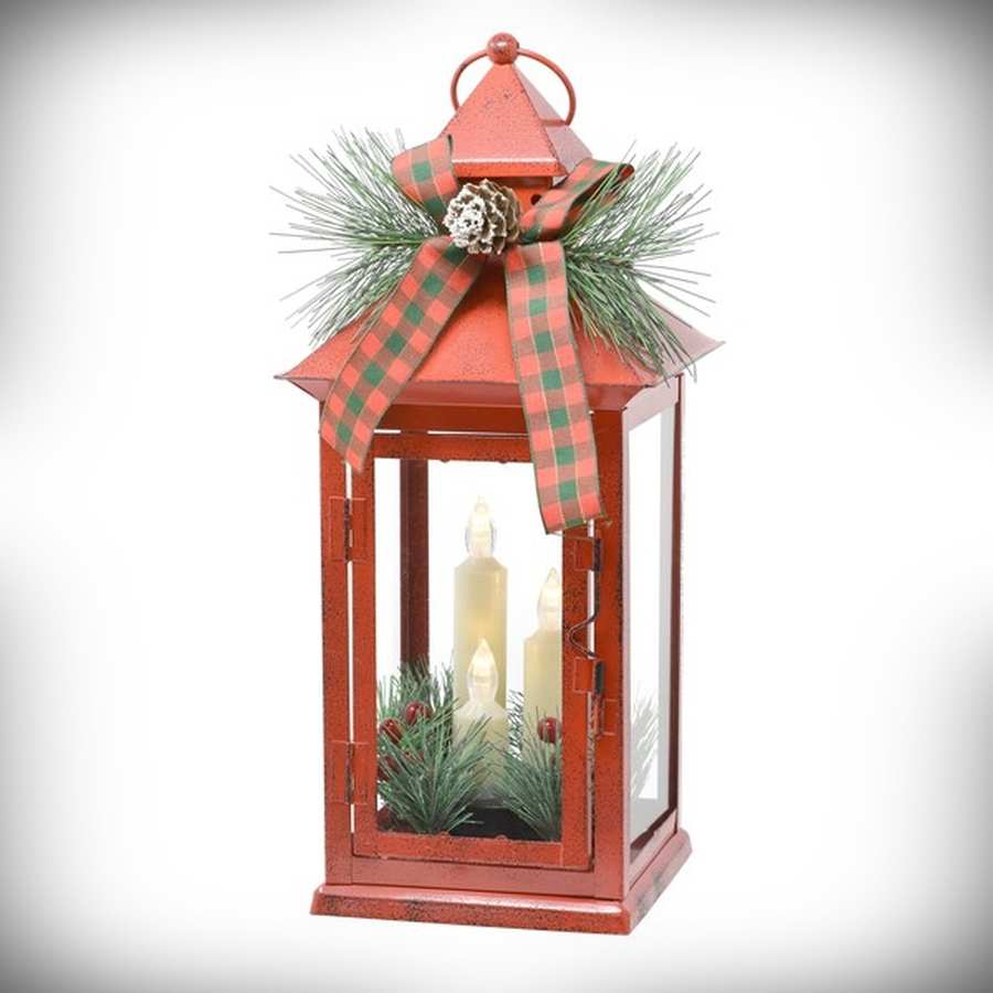 LED Red Taper Lantern with Holiday Trim