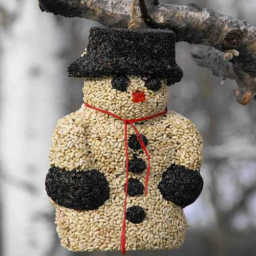 Snowman Hanging Edible Bird Feeder