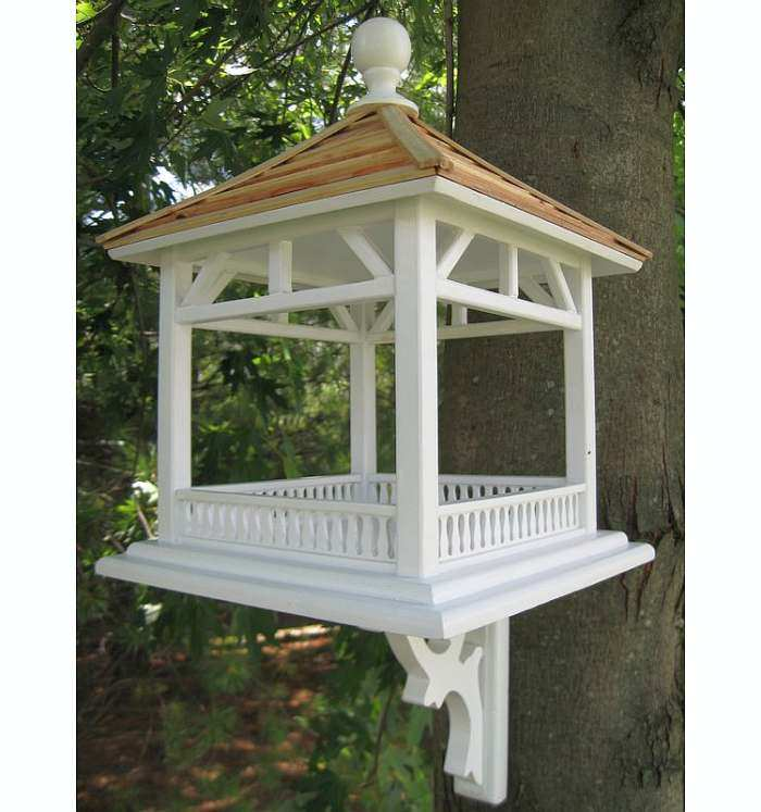 Classic Dream House Pine Shingle Roof Bird Feeder