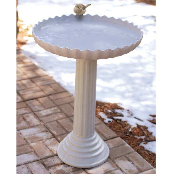 Scalloped Heated Birdbath w/Pedestal