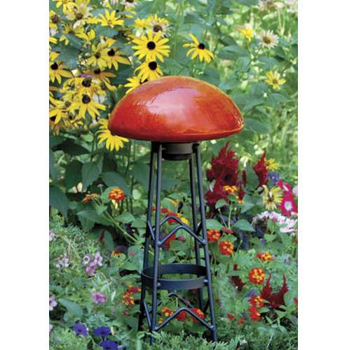Achla Crackle Glass Toadstool Mandarin Red