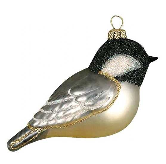 Blown Glass Bird Ornament Chickadee