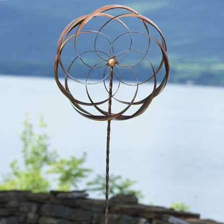 Pinwheel Flower Wind Spinner with Twisted Stake