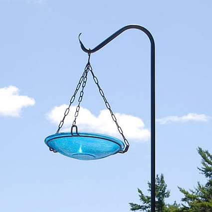 Hanging Crackle Glass Bird Bath 14
