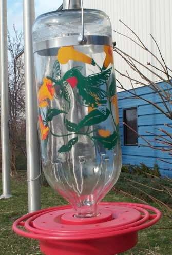 Best-1 32oz Handpainted Hummingbird Design Feeder