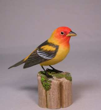 Original Wood Bird Carvings, Western Tanager Carved Wood Bird Sculpture At  Songbird Garden