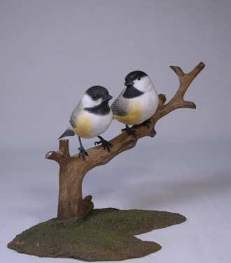 Carved Black-capped Chickadees Pair